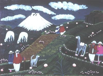 Tableau artisanal équatorien représentant un volcan.