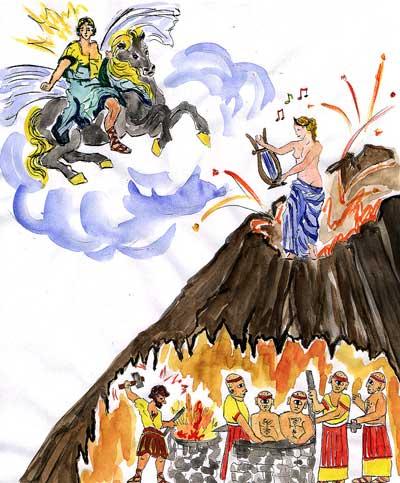 Dessin représentant Vulcain (Héphaïstos chez les grecs) et Vénus (Aphrodite chez les grecs), dieux de la mythologie antique.