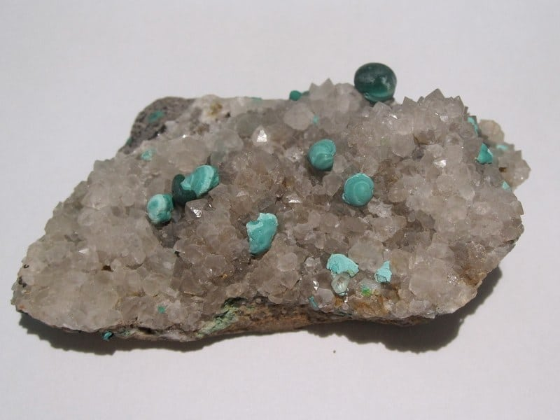Malachite sur quartz, Bouche Payrol, Brusque, Aveyron.