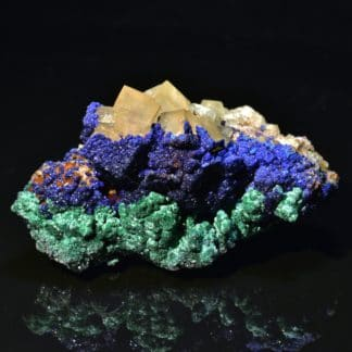 Azurite, malachite et fluorine, Aouli, Maroc