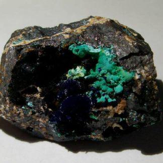 Azurite et malachite, mine de Mont-Roc, Tarn.