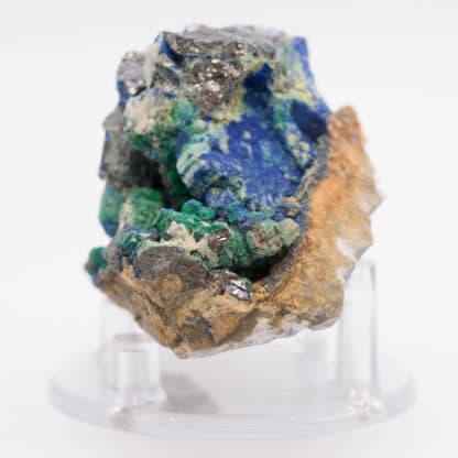 Bournonite, azurite, malachite et sphalérite, Saint-Laurent-le-Minier, Gard.