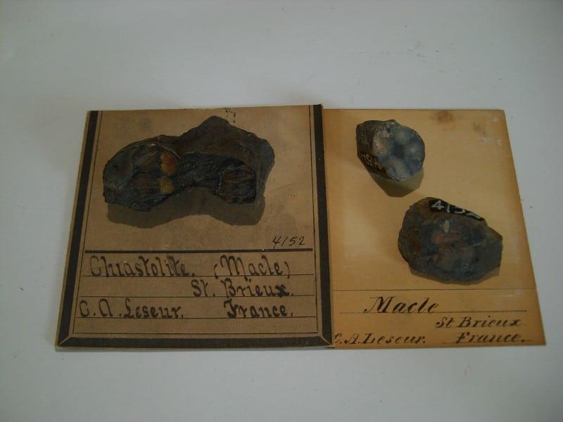 Chiastolite (andalousite), Saint-Brieux, Côtes-d'Armor, Bretagne, France.