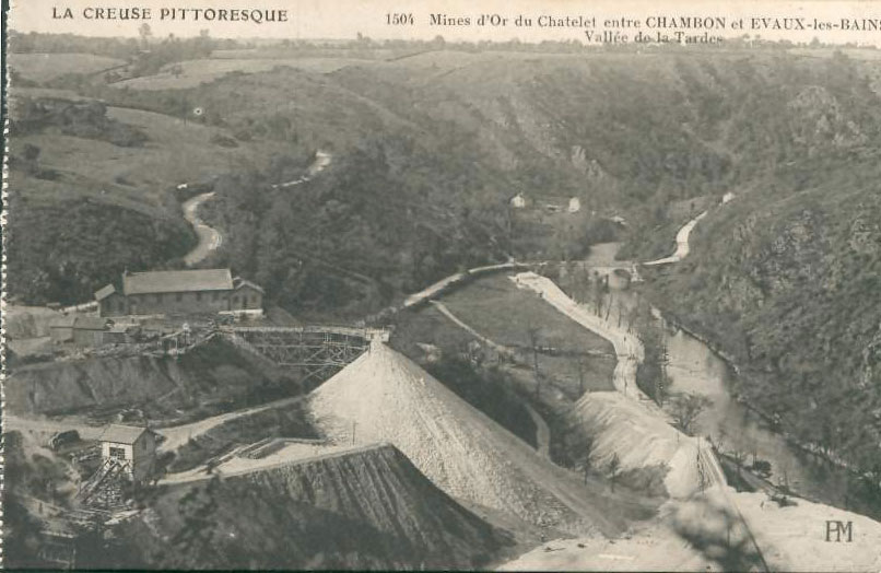 "Carte Postale Ancienne (CPA) : ""Mines d'or du Chatelet""."