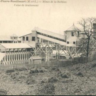 """Carte Postale Ancienne (CPA) : """"Mines de la Bellière (or), Saint-Pierre-Montlimart, Maine-et-Loire. Usine de traitement""""."""