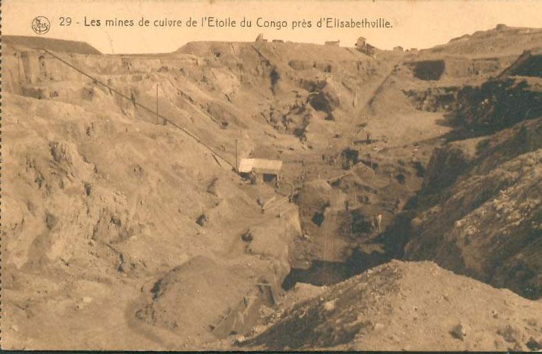 Carte postale ancienne (CPA) montrant les mines de cuivre de l'Étoile au Katanga (Congo).