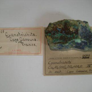 Cyanotrichite de la mine de Cap Garonne, Le Pradet, Var, France.