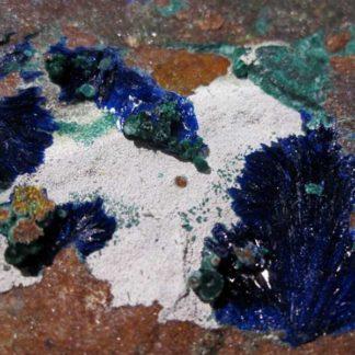 Azurite, leucocalcite, olivénite et malachite, La Garonne, Var.