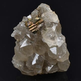Chalcopyrite sur cristaux de Quartz, Laguépie, Tarn-et-Garonne, France.
