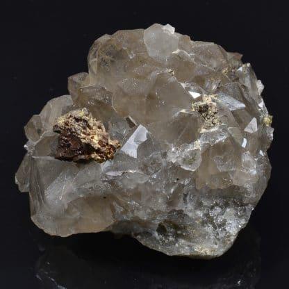 Chalcopyrite sur quartz, Laguépie, Tarn-et-Garonne.