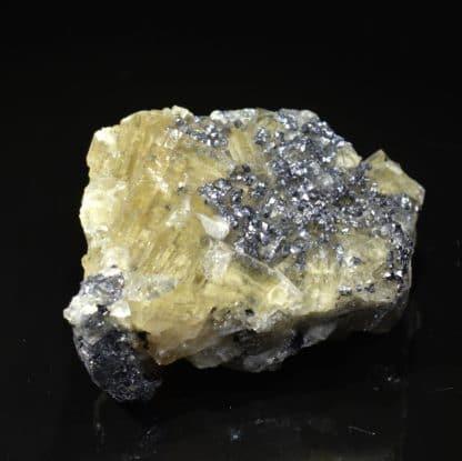 Galène sur fluorine, mine de Chaillac, Indre.