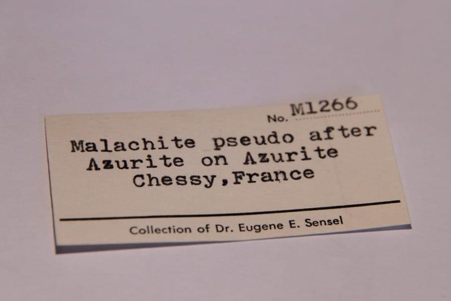 Malachite sur Azurite, mine de Chessy, Rhône.