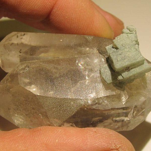 Adulaire sur quartz, Les Grands Montets, Chamonix, Haute-Savoie.