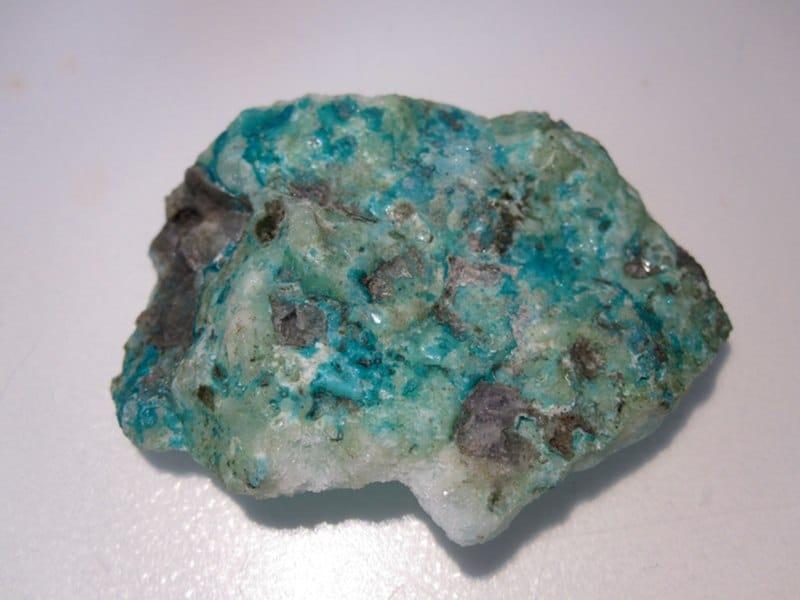 Aragonite cuprifère, mine de Surlatte, Sainte-Marie-aux-Mines, Haut-Rhin.