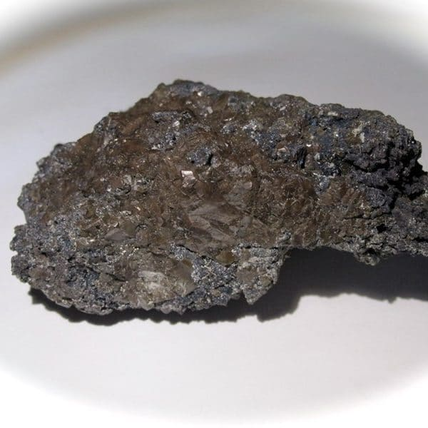 Bromargyrite sur covelline, district minier de Sierra Gorda, Chili.