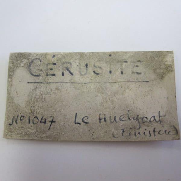 Cérusite, mine de Huelgoat, Finistère.