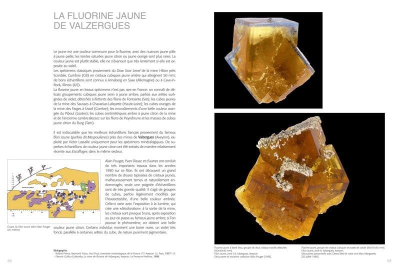 Livre de minéralogie : fluorine de Valzergues (Aveyron).