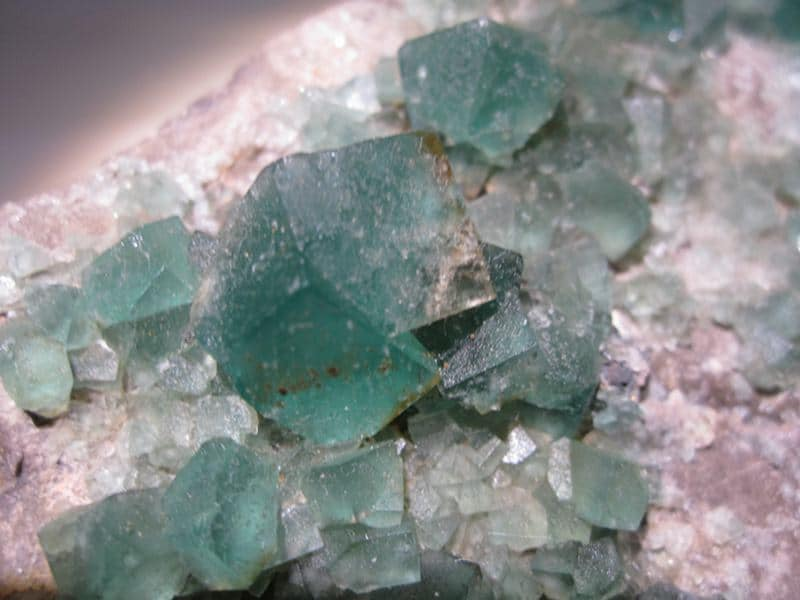 Fluorite, Rogerley Mine, Weardale, Durham, Angleterre, Royaume-Uni.