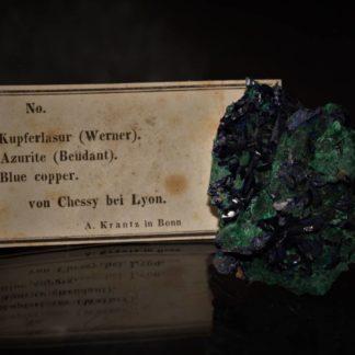 Azurite et pseudomorphose de malachite après azurite, mine de Chessy, Rhône.