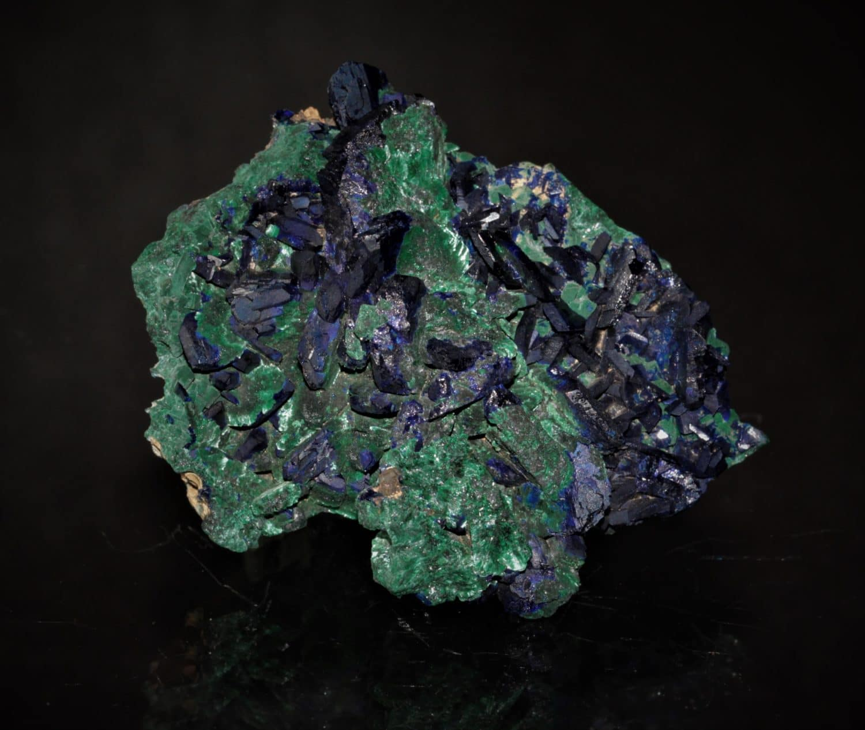 Pseudomorphose de malachite sur azurite, mine de Chessy, Chessy-les-Mines, Rhône.