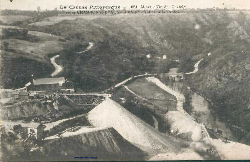 """Carte Postale Ancienne (CPA) : """"Mines d'or du Chatelet, entre Chambon et Evaux les Bains""""."""