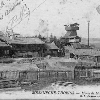 """Carte Postale ancienne (CPA) : """"Romanèche-Thorins, mines de manganèse""""."""