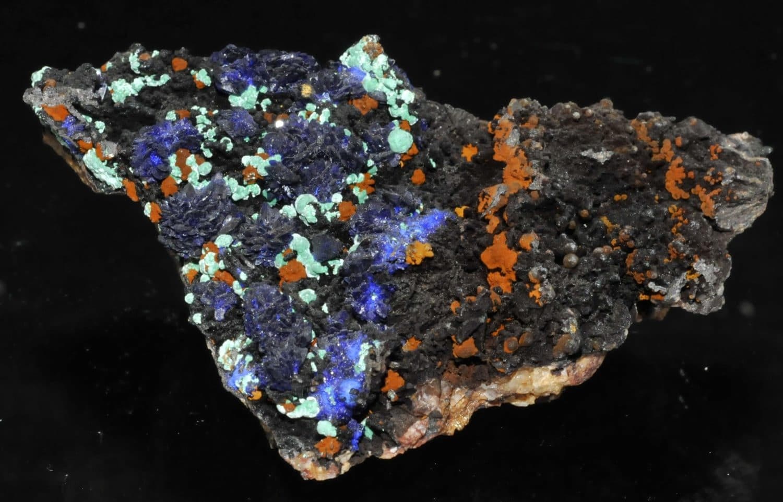 Azurite et malachite de la mine du Moulinal (Tarn).