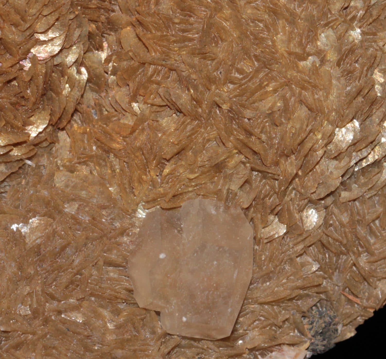 Calcite biprismatique sur Sidérite, Carrière du Rivet, Peyrebrune, Tarn
