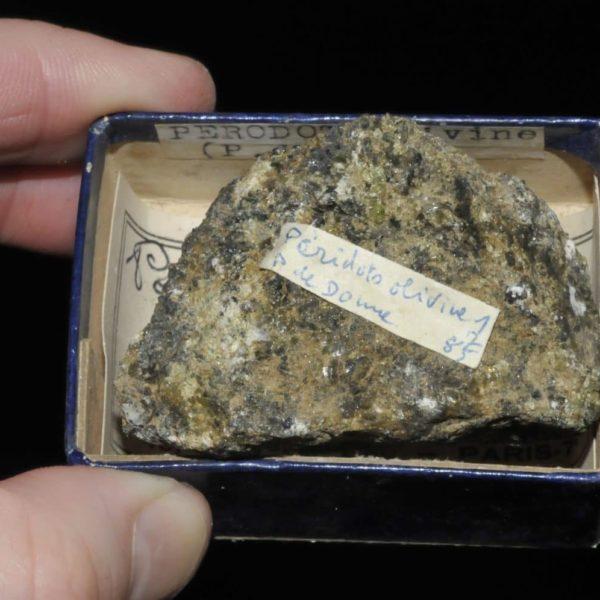 Péridot olivine du Puy de Dôme (ex Deyrolle).
