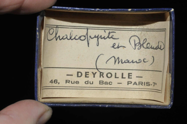 Chalcopyrite et sphalérite (blende) du Maroc (ex Deyrolle).