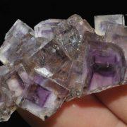 Fluorite mauve à fantômes de croissance de l'Illinois (USA).