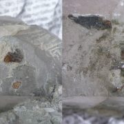 Nettoyage d'un cristal de quartz de Petit Mars avec cristaux de titanite.