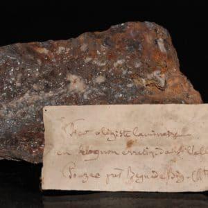 Hématite, Payrac, Pyrénées (étiquette ancienne)