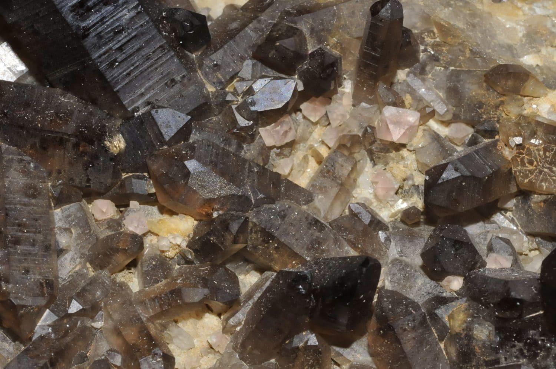 Fluorine rose avec cristaux de quartz morion de Chamonix Mont-Blanc.