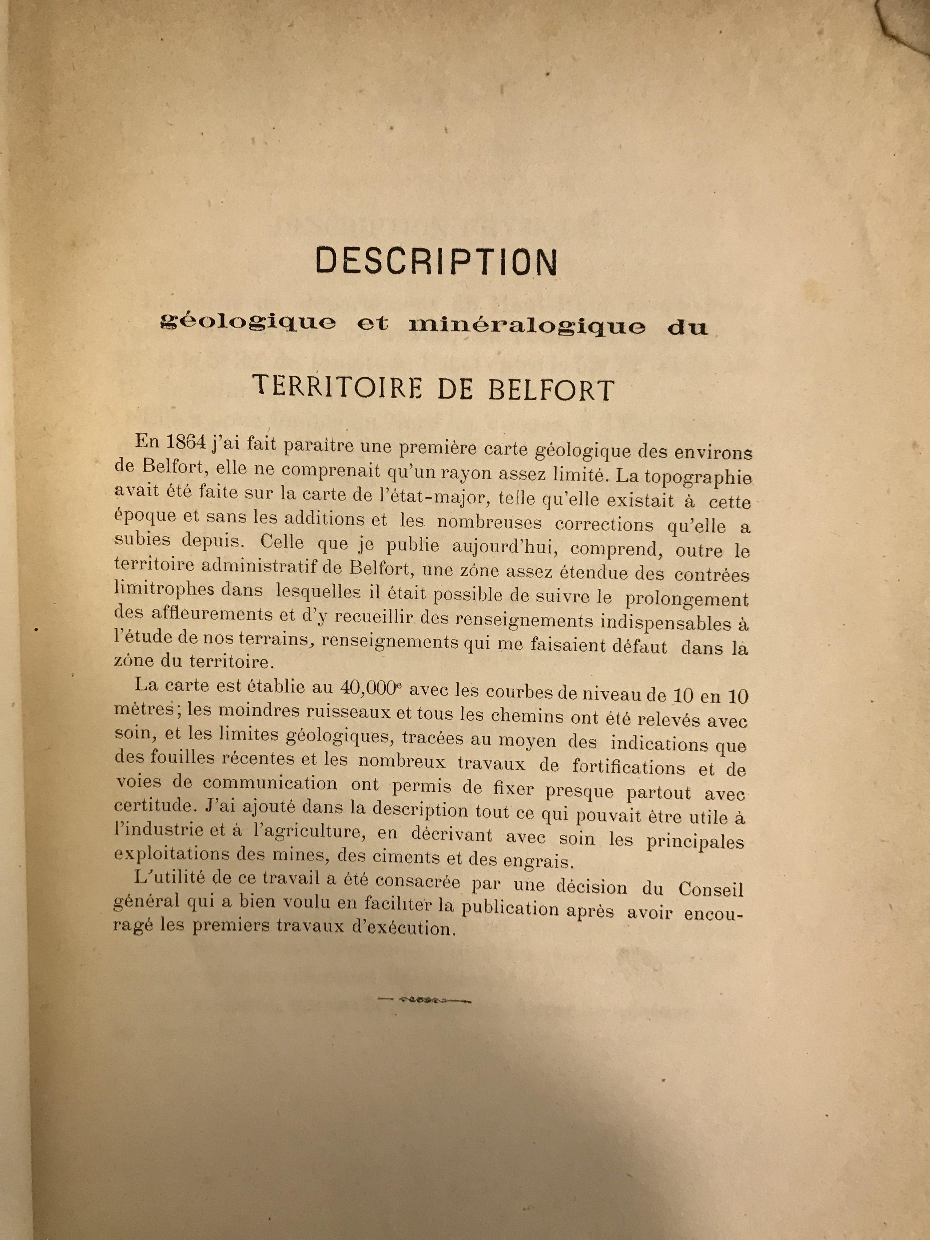 Description géologique et minéralogique du Territoire de Belfort