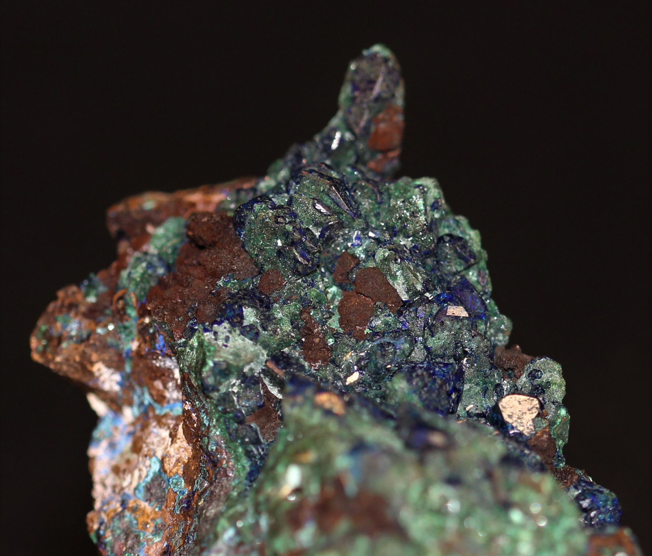 Azurite et malachite, ex-collection de l'académie de Philadelphie, Chessy-les-Mines.
