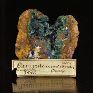 Géode d'azurite et malachite, mine de Chessy, Rhône-Alpes.