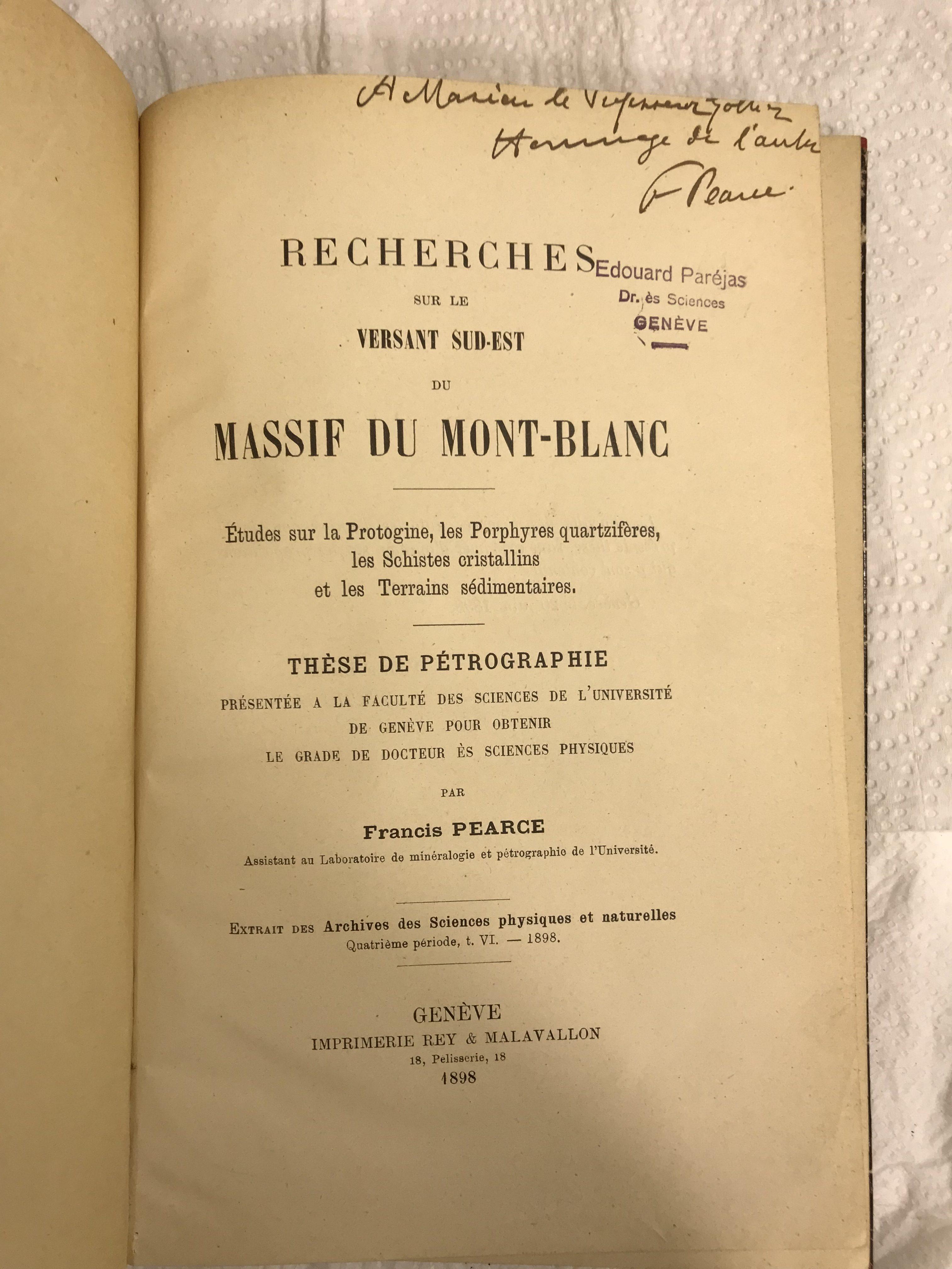 Pétrographie : Recherches sur le versant sud-est du massif du Mont-Blanc