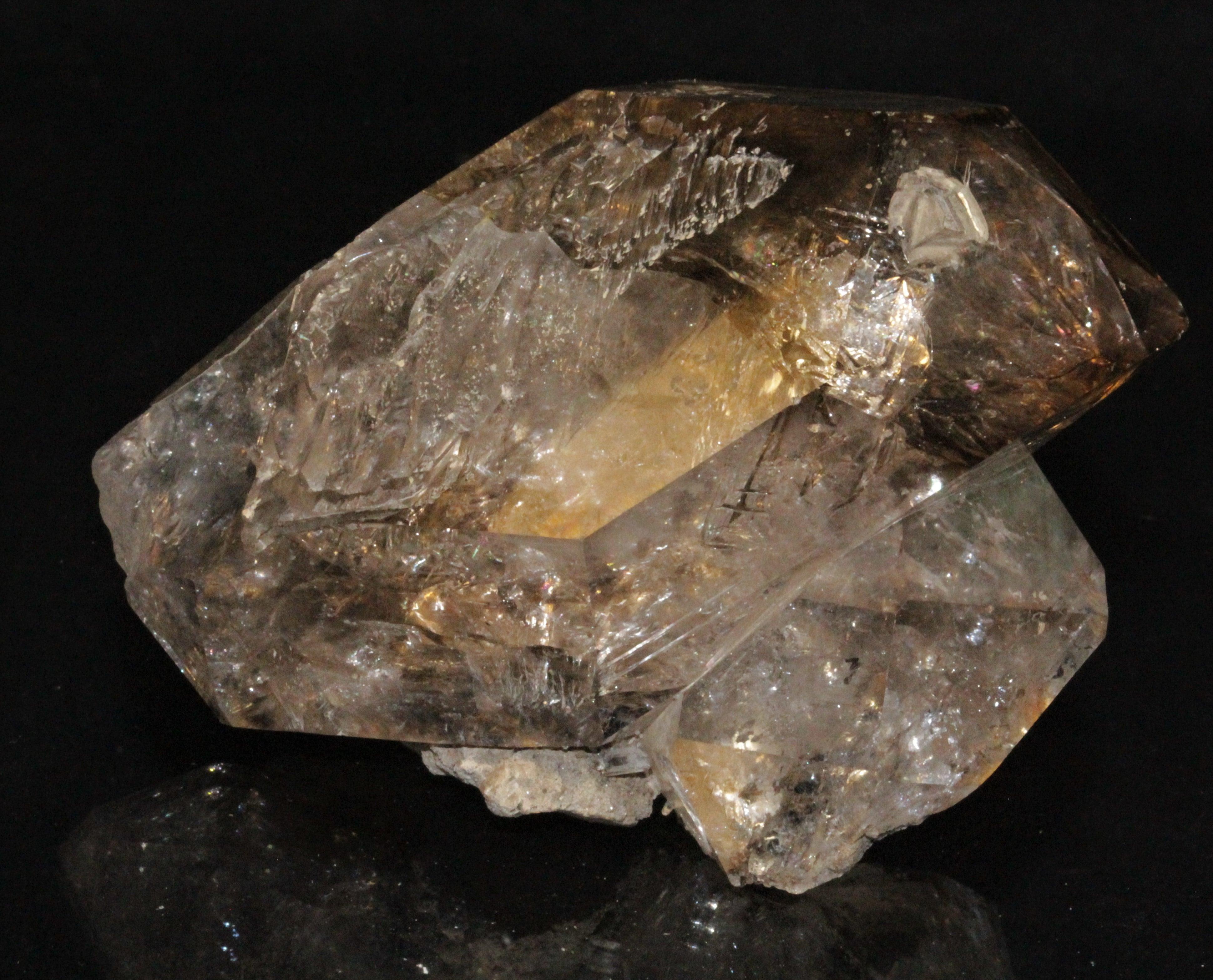 Cristal de quartz fumé, Herkimer, USA.