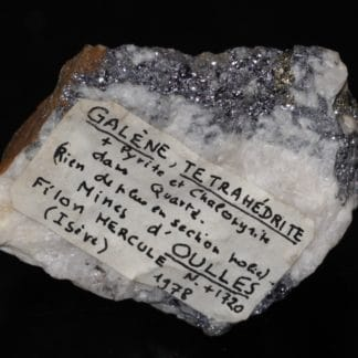 Galène, tétraédrite et chalcopyrite, mine d'Oulles, Isère - Ex- Geffroy.