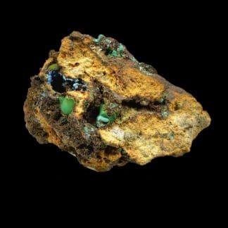Malachite et cyanotrichite, Salsigne, Aude.