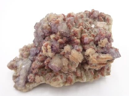 Fluorite violette sur calcite, carrière d'Artenberg, Steinach, Allemagne.