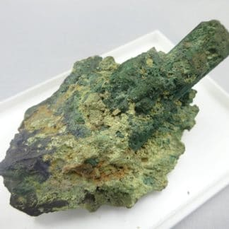 Azurite pseudomorphosée en malachite, Tsumeb, Namibie.