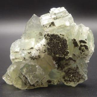 Fluorite verte, pyrite et quartz, filon blanc, Fontsante, Var.