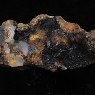 Sidérite Chalybite, Calcédoine, Pyrolusite, Galène, Carrière du Rivet, Peyrebrune, Tarn.