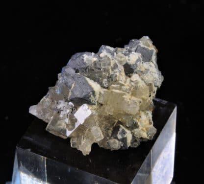 Galène octaédrique, Fluorine, Mine de Fontsante, Les-Adrets-de-l'Esterel, Var.