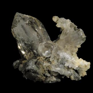 Quartz fumé à inclusions blanches, Chlorite, L'Aiguille Verte, Chamonix, Massif du Mont-Blanc, Haute-Savoie.