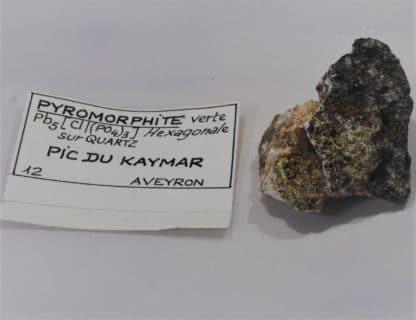 Pyromorphite verte sur Quartz, Pic du Kaymar, Aveyron.