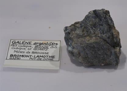 Galène argentifère, Blende (Sphalérite) et Quartz, Bromont-Lamothe, Puy-de-Dôme.