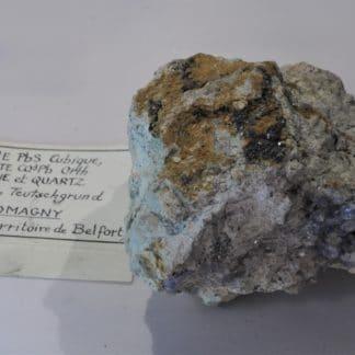 Galène, Cérusite, Fluorine et Quartz, Giromagny, Territoire de Belfort, Franche-Comté.